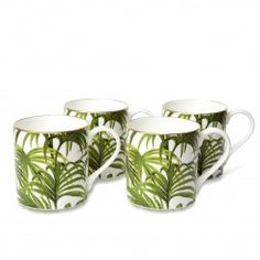 PALMERAL Set of Four Mugs - White/ Green