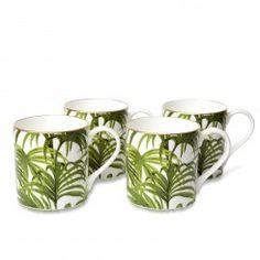PALMERAL Set of Four Mugs - White/ Green #HOHSOS