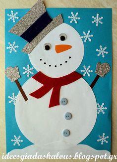 τάξη β' Lehrerideen: Zieh den Schneemann an! Christmas Card Crafts, Snowman Crafts, Christmas Cards To Make, Kids Christmas, Holiday Crafts, Winter Crafts For Kids, Theme Noel, Preschool Crafts, Jul Diy