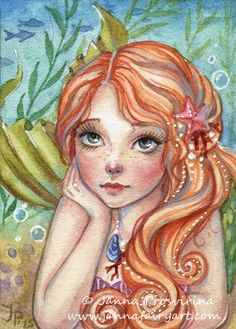 This is a listing for an open edition ACEO ( 2,5x3,5 inch) art PRINT of my original watercolor painting Mermaids Dream. Printed with fade-resistant