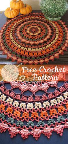 28 ideas for crochet mandala pattern free beautiful Crochet Fall, Easy Crochet, Free Crochet, Free Knitting, Knitting Ideas, Doily Patterns, Afghan Crochet Patterns, Pattern Ideas, Amigurumi Patterns