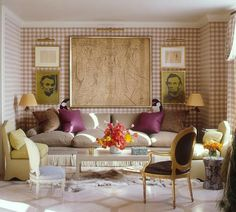 gingham walls from jeffrey bilhuber - everyone needs an Abe Lincoln print