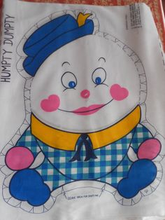 Humpty Dumpty Fabric  DIY Kit c1980s sew it by violetrosesvintage, $18.00