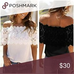 Gorgeous off shoulder black top White off shoulder top with cute flowery fabric white great for summer brand new never worn Price negotiable make an offer Tops Blouses