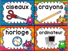 Classroom Supply Labels French - étiquettes pour la c Classroom Labels, Classroom Supplies, French Classroom Decor, Classroom Management Tips, Primary Activities, French Education, Classroom Language, Teacher Organization, Teaching French