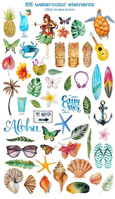 Aloha - watercolor bundle by beauty drops on Creative Market Painting & Drawing, Beach Drawing, Watercolor Paintings, Watercolors, Doodles, Illustration Art, Artsy, Clip Art, Artwork