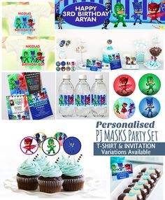 PJ Masks Birthday Package Printable Digital download, PJ Masks BirthdayJ Masks Birthday, PJ Masks nvitation, Party Instant