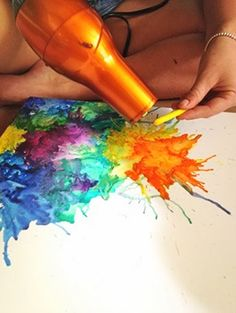 Another way to make melted crayon art using a hairdryer. It's recomended to use crayola vs. generic brands for best results.