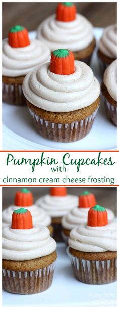 Light, fluffy pumpkin cupcakes with a delicious cinnamon cream cheese frosting!: