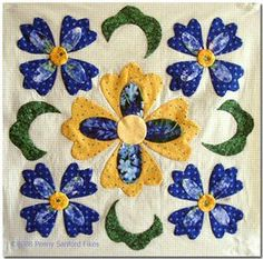 Free Applique Quilt Block Patterns | Penny Sanford Designs: Finished Baltimore Blue Block One