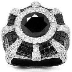Black Diamond, White Diamond and Gold Bombe Ring