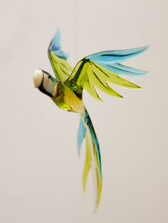 Parrot  glass animal figurine by CaraMagicGlass on Etsy, $35.00
