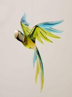 Parrot  glass animal figurine by CaraMagicGlass on Etsy, $35.00