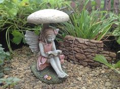 Fairy Carrissa found the perfect toadstool to sit under to read. She needs to be in your garden with little plants and flowers nearby. She measures 2 3/4″ T, 1 3/4″ W, 2 1/4″ L
