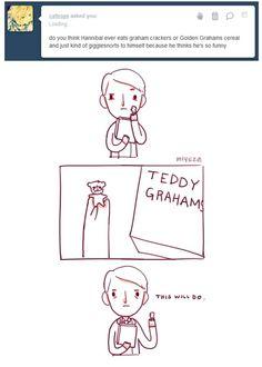 Hannibal brings a little teddy graham wherever he goes. <3