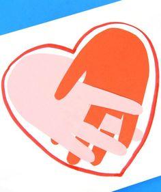 Handprint Heart Craft - Easy Peasy and Fun Toddler Art, Toddler Crafts, Preschool Craft Activities, Children Activities, Bible Crafts For Kids, Kids Bible, Friendship Crafts, Fingerprint Crafts, Children's Church Crafts