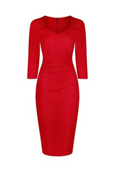 1940s Vintage Red 3 4 Sleeve Bodycon Pencil Dress Red Formal Dresses cf0dfa15a075
