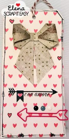 tag with origami paper bow