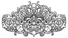 Barong Head line art by mostlymade.deviantart.com on @deviantART