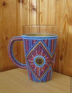 """Купить Кружка """"Солнечный бриз"""" точечная роспись - кружка, чашка, бокал, разноцветная кружка"""