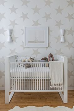 Sissy and Marley - nurseries - Lucky Star Wallpaper, Baby Bunny No 3, ducduc Austin Crib, Jonathan Adler Havana 2 Light Wall Sconce, stars wallpaper