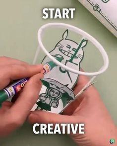 Diy Crafts Hacks, Diy Arts And Crafts, Fun Crafts, Paper Crafts, 5 Minute Crafts Videos, Craft Videos, Cool Art Drawings, Amazing Art, Awesome