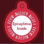 "Epinephrine Inside Food Allergy Alert Kids Red Key Ring Tag. Food Allergy Alert written in white on red circle on edge. Front has room to write ""EPINEPHRINE INSIDE"" to alert to medication. Back of key ring has room to personalize with name or contact information. Attach to kids lunch box, medicine kits, or book bags. Customize to change text color or color of red edge. Contact me for custom design requests. Designs by Lil Allergy Advocates www.lilallergyadvocates.com"