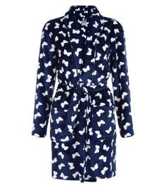 Navy Butterfly Dressing Gown