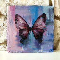 Butterfly Acrylic Painting, Butterfly Drawing, Butterfly Wall Art, Acrylic Painting Canvas, Canvas Art, Small Paintings, Original Paintings, Cardboard Painting, Cool Art Drawings