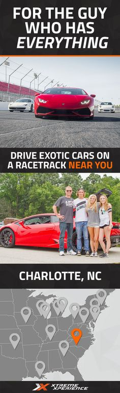 It's never been easier to give a gift to the guy who has everything. Driving a Ferrari, Lamborghini or other exotic sports car on a racetrack is a unique gift idea that is guaranteed to leave a smile on his face, a good story to tell and a life-long memory. Xtreme Xperience brings the thrill of a lifetime to you at Charlotte Motor Speedway from June 17-19, 2016. Reserve your Supercar Xperience today for as low as $219. Space is limited!