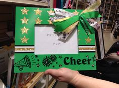 Look at this cute picture frame! Homemade Picture Frames, Cute Picture Frames, Homemade Pictures, Cheer Gifts, Cheerleading, Cute Pictures, Gift Wrapping, Crafty, Gift Wrapping Paper