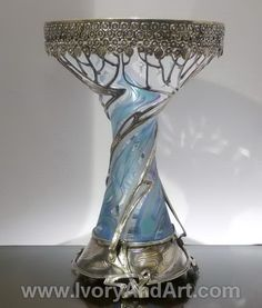 Russian Silver & Crystal Vase- Art Nouveau.                              …