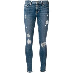 Frame Denim 'Le Skinny de Jeanne' jeans (6.500 UYU) ❤ liked on Polyvore featuring jeans, pants, bottoms, pantalones, frame jeans, super skinny jeans, blue skinny jeans, skinny jeans and skinny fit jeans