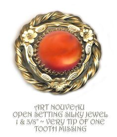 Image Copyright by RC Larner ~ Early 20th C. Art Nouveau Gay '90 Silk Glass Cabochon Jewel in Open Twist Border Button ~ R C Larner Buttons at eBay & Etsy         http://stores.ebay.com/RC-LARNER-BUTTONS