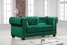 Bowery Green Velvet Loveseat