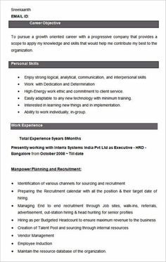resume format for back office executive