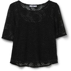 Blond Lace Blouse (165 PLN) ❤ liked on Polyvore featuring tops, blouses, shirts, t-shirts, crop top, crop shirts, lacy shirts, short-sleeve shirt, short sleeve lace blouse and lace crop top
