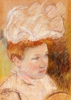 Leontine in a Pink Fluffy Hat Mary Cassatt - 1898