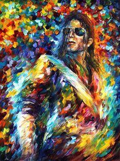 Portrait Painting — Michael Jackson — PALETTE KNIFE Modern Art Oil Painting On Canvas By Leonid Afremov