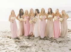 mismatched bridesmaid dresses - looks like same dress, 2-3 colors @Kathi Bishop Bishop Fuson
