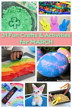 31 days of spring crafts and activities for March! A month of preschool and toddler activities in one easy-to-read activity calendar. Hands-on learning activities for spring, Easter, St Patrick's Day! Rainbows, bunnies, and more! We love this month of colorful crafts! #preschoolactivities #preschool #springcrafts #kidscrafts Easter Activities For Preschool, Toddler Learning Activities, Spring Activities, Fun Crafts For Kids, Spring Projects, Art Projects, Spring Toddler Crafts, Colorful Crafts, Crafts From Recycled Materials