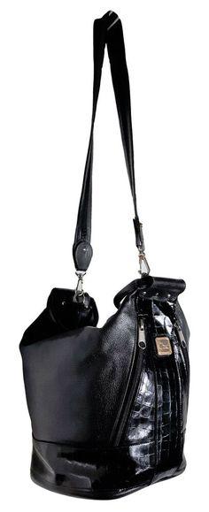 Vintage unique CHIC genuine black Leather studded 3-way bucket croc sling  purse  AuthenticCHICluxurydesignerzipperedsatchel 271fd63cd6802