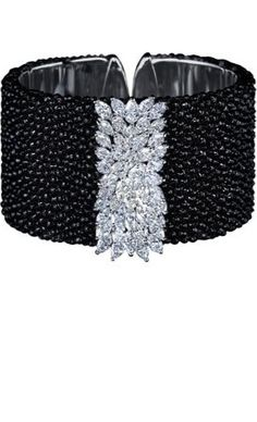 Colored Diamond bracelet white gold with black and white diamonds  by Gilan