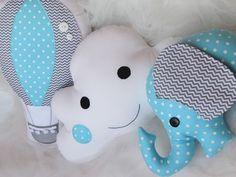 Jogo de almofadas: balão, nuvem e elefante