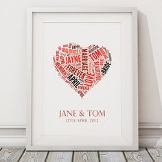 Personalised Wedding heart word cloud gift word by artylicious, £14.00