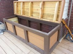 Finished storage bench and hopefully this post worked! Outside storage box for firewood or toys Outdoor Storage Boxes, Diy Outdoor, Outside Storage, Outdoor Storage Bench, Surfboard Storage, Outdoor Storage, Storage, Deck Box Storage, Firewood Storage
