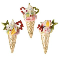 "RAZ Ice Cream Cone Christmas Ornament Set of 3  3 Assorted Ice Cream Cone Ornaments Multicolored Made of Styrofoam Measures 6.5"" For Decorative Use Only  Candy Wonderland Collection"