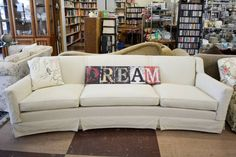 This large, comfortable off-white couch is just one of many great items. Happy Tails is open Tue-Sat: pm at 1825 Springs Rd, Vallejo, California Vallejo California, White Couches, Thrifting, Store, Happy, Image, Furniture, Home Decor, White Sofas