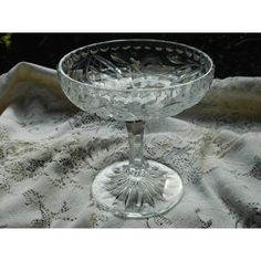 HOLIDAY SALE Cut Glass Compote, Crystal Pedestal Dish, Candy and Bon... ($31) ❤ liked on Polyvore featuring home, kitchen & dining, serveware, crystal dishes, pedestal candy dish, cut glass dishes, crystal compote and leaf dishes