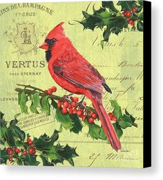 Bird Canvas Print featuring the painting Cardinal Peace by Debbie DeWitt